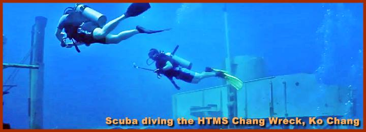 Scuba diving the HTMS Chang Wreck, Ko Chang