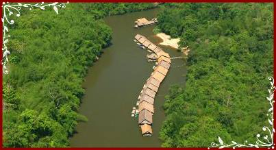 Bird's eye view of River Kwai Jungle Raft